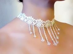 White lace choker necklace  crystal beaded chain by LaceFancy, $12.99