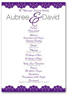 DIY Wedding Programs #wedding #marriage #invitations #programs