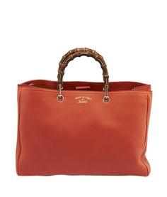 Gucci Bamboo Shopper Orange Leather Large Tote