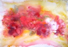 Watercolor flowers print Scent of roses Pink by OlentaWatercolor, $26.00