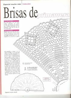 Patrón de abanicos a ganchillo 2 Crochet Diagram, Filet Crochet, Crochet Motif, Irish Crochet, Crochet Shawl, Crochet Doilies, Crochet Lace, Crochet Stitches Patterns, Knitting Patterns