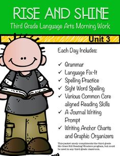 This language arts morning work follows the skills taught in the McGraw-Hill Reading Wonders third grade curriculum, but could be used in any third grade classroom. This pack includes morning work for Monday-Friday. The skills are a spiral review of units 1, 2, and 3 of the Wonders curriculum and the language arts common core standards.