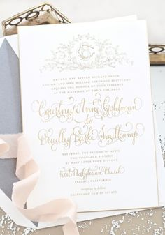 gold and white wedding glam stationery