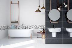 biało-czarna łazienka, czarne płytki z tłoczonymi kwiatami