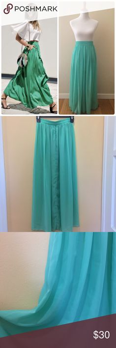 """American Apparel chiffon maxi skirt Gorgeous American Apparel chiffon maxi skirt in mint green color. Single layer unlined. Modeled with a slip underneath. The actual item is sheer. Perfect to wear as a beach coverup. Worn once. In great condition. Length: 36"""" American Apparel Skirts Maxi"""