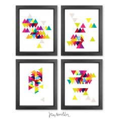 SET of FOUR Geometric Triangles digital print by flitandfly