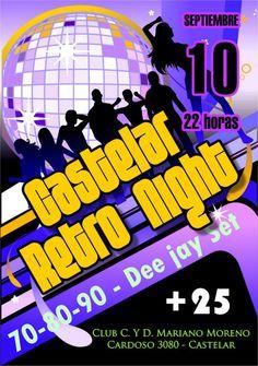 Afiche para la Fiesta de Castelar Retro Night