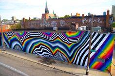 Les dernières créations street art de Felipe Pantone, cet artisteargentin-espagnol prolifique dont les œuvrespsychédéliques envahissent les murs du mon
