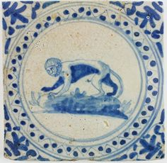 Antique Dutch Delft tile in blue with a monkey, 17th century