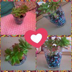 Pots pour plante ou cactus fait avec un verre et du vernis a ongles