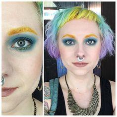 #motd #fotd #lotd #eotd #bluesmokeyeye #yellowbrows #iloveunwearable #rainbowhair #pastelhair #curlyhair #babybangs #septum #colorfulmakeup #dyeddollies #dyedgirls #mermaidians
