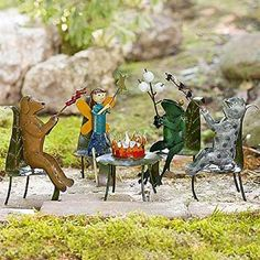 Fire Pit Party Set www.teeliesfairygarden.com . . . This fire pit party is a whimsical addition that everyone will adore. It features magical creatures enjoying their hot bbq and marshmallows. Let the fairies join their fun! #fairyfirepit