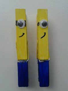 Diy minion wasknijpers. Minion clothespins.