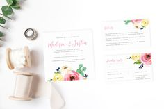 Our Spring wedding invitation suite is printed on bright white card and features a sweet, floral design. Includes an invitation, RSVP, details card + envelope. Wedding Suite, Wedding Invitation Suite, Spring Wedding Invitations, Wedding Stationery, Card Envelopes, Seating Charts, Bliss, Floral Design, Place Cards
