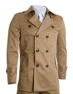 88aa2b50c171 FLATSEVEN Slim Fit Designer Manteau Trench Casual Homme  Amazon.fr   Vêtements et accessoires