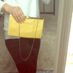 Vintage yellow leather clutch Great vintage piece with embossed leather Bags Clutches & Wristlets