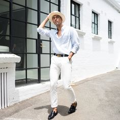 Mens Fashion Style & Outfit inspo by Blogger MR TURNER. Spring Summer, Italian Menswear. Gucci belt, H&M shirt, Jane Lambert hat, Antoine & Stanley black shoes, White Academy Brand chinos.