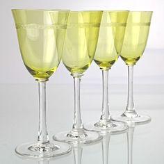 4 Vintage Weingläser Weissweingläser gelb grün Jugendstil Bordüre R3M