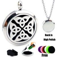 Silver Trinity(30mm) Aromatherapy / Essential Oils Diffuser Locket Necklace with Chains Stianless Steel Auto Aroma Locket