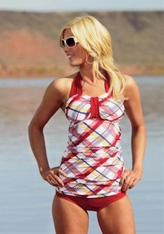 """This website has TONS of cute swim suits for women who don't like wearing bikinis or the dreaded """"mom"""" suit. Where was this four months ago? Oh well, I'll remember for next year. - Click image to find more Women's Fashion Pinterest pins"""