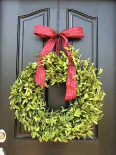 Boxwood Wreaths - Artificial Boxwood - Boxwood Decor - Year Round Wreath - Modern Decor - Burlap Bows. $100.00, via Etsy.