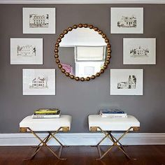Gold Mirror and Old-Fashioned Photos over Gold-Trimmed Stools   Carey Karlan
