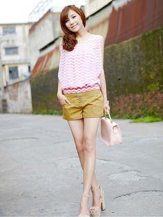 Women Summer New Leisure Cotton Short Yellow Korea Pants S/M/L@IM3010y