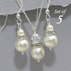 Swarovski Bridesmaid Jewelry Set of 5 Swarovski Ivory Cream Pearl Necklace and Earring Set, Bridesmaid Jewelry Set of 5 Bridal Party Jewelry