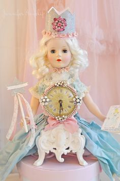 Princess Fairytale Art Doll Clock handmade by Jennifer Hayslip