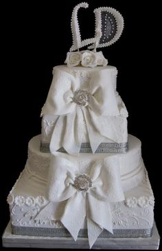 Sugarcraft by Soni: Four Tier Wedding Cake: Bows and Roses