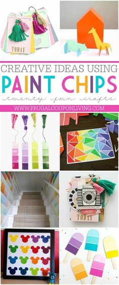 Take a look at these Paint Chip Ideas to make the perfect Paint Chip Crafts! Paint strips can make the most perfect and free craft for kids. Details on Frugal Coupon Living.