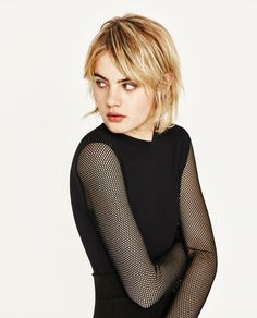 Image 3 of T-SHIRT WITH SHEER SLEEVES from Zara