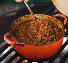 Cowboy Beans--a great side that everyone seems to love. (I brown 1-lb of ground round and toss it in with beans too).