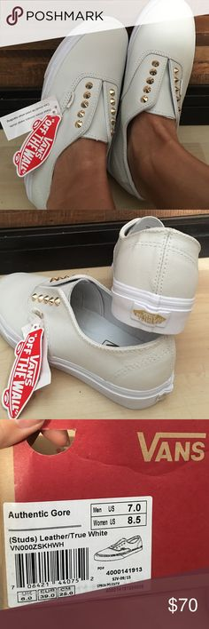 New Slip-on white leather vans w/ gold studs W 8.5 Unique and Rare. Leather slip-on Vans. Style is Authentic Gore. Size is Men 7.0/ Women 8.5 Vans Shoes Sneakers