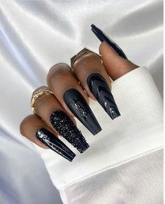 Cute Black Nails, Long Black Nails, Black Ombre Nails, Black Stiletto Nails, Black Acrylic Nails, Pointed Nails, Rose Gold Nails, Black Wedding Nails, Black And Blue Nails