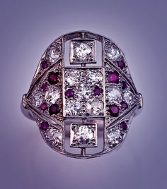 Ornate Art Deco Vintage Diamond And Ruby Platinum Cluster Ring  c. 1915