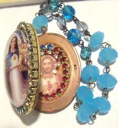 Vintage Virgin Mary Jesus heirloom Shrine Icon Cameo Locket W/ Rhinestones AND FACETED GLASS PRAYER BEADS