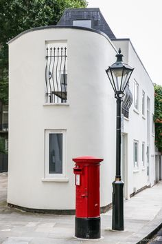 House and red post box in Kensington, London
