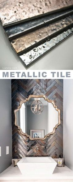 Metallic tile! Beautiful and creative tile ideas for kitchen back splashes, master bathrooms, small bathrooms, patios, tub surrounds, or any room of the house.