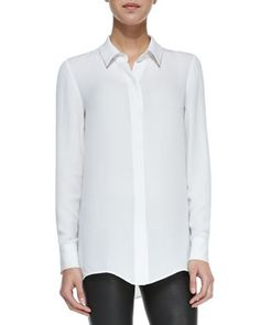 Classic Long-Sleeve Silk Blouse, White by Vince at Neiman Marcus.