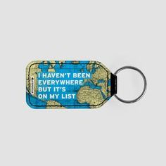 I Haven't Been - World Map - Leather Keychain - airportag   - 1