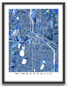 A Minneapolis map art print featuring the city of Minneapolis, Minnesota, USA.    This Minneapolis city map has a modern, abstract art design made from lots of little blue shapes. Each shape is actually a city block or a piece of land - and these shapes combine like a puzzle or mosaic to form this Minneapolis print. #Minneapolis #Minnesota #map