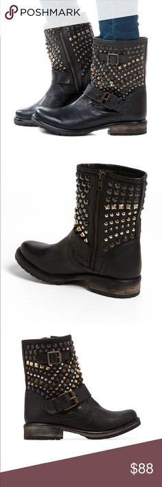 Steve Madden Marcoo Black Studded Boots Moto 8 M Steve Madden Black Leather Marcoo Ankle Boots Gold Bronze Studded Biker Moto Size 8 M Excellent Condition minor scuffs at toes otherwise perfect Steve Madden Shoes Ankle Boots & Booties
