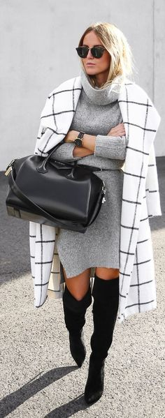Grid Print Coat fall autumn women fashion outfit clothing style apparel | Sweater Weather | Fall Fashion | OTK Boots | Thigh High | Over the Knee | Black | Gray |