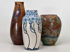 Galileo Chini (1873-1956), Glazed Decorated Ceramic Vases.