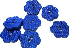 Handmade++FlowerShaped+Ceramic+Buttons+++Royal+by+lindabelinda,+$3.10