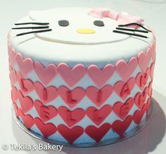 Hello Kitty cake with hearts