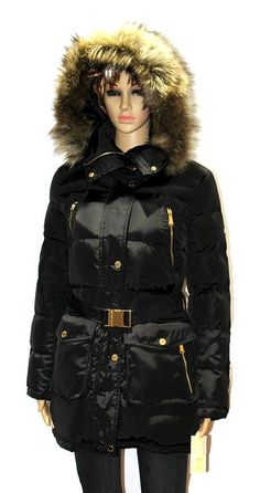 a5023f603df MICHAEL Kors womens Faux Fur Belted Down Coat winter jacket BLACK PUFFER  XXL -- You can find out more details at the link of the image.