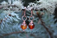 Red Agate Copper Earrings by 45thParallelStudio