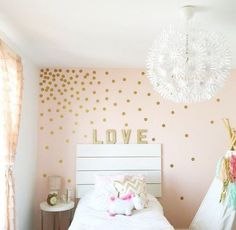 Teen Girl Bedrooms for dreamy bedroom area - Most cool teen room examples. Pin reference 9752595877 Filed under diy teen girl bedrooms headboards , imagined on this day 20190317 Polka Dot Walls, Polka Dot Wall Decals, Polka Dots, Polka Dot Bedroom, Wall Stickers Gold, Gold Wall Decal, Gold Dot Wall, Polka Dot Nursery, Girls Wall Stickers